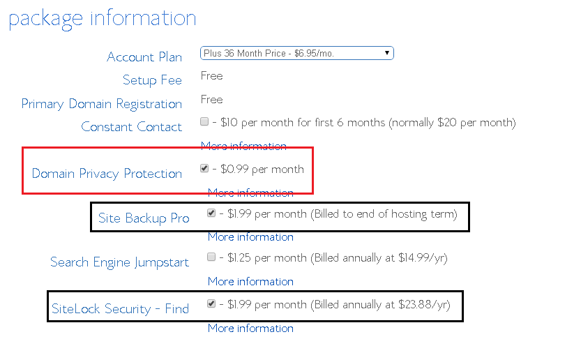 bluehost hosting plan plus cost