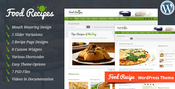 food recipes wordpress theme themeforest best