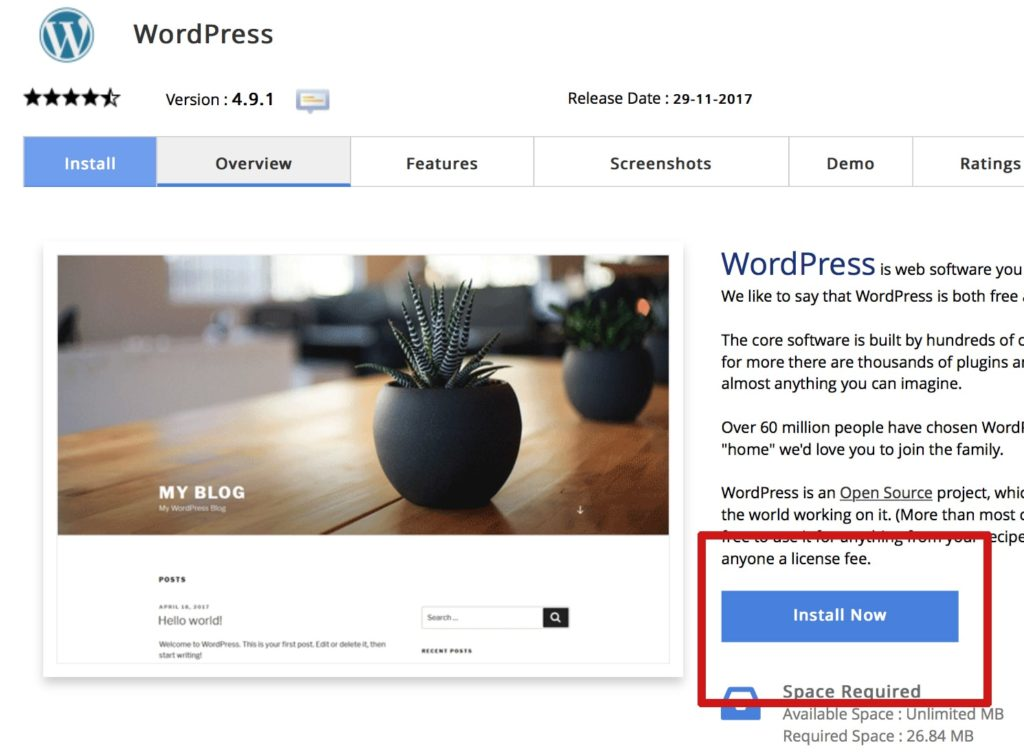 wordpress installation fastcomet host
