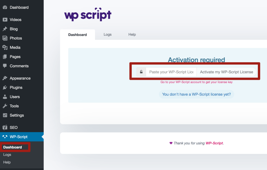wp script activation key free