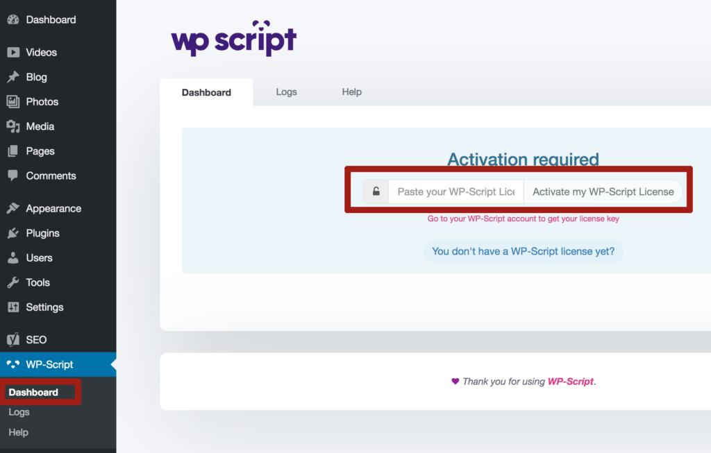 wp script activation key free